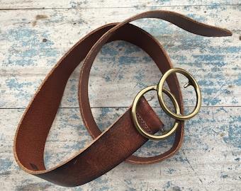 Vintage Made in USA GAP leather belt brass belt buckle Venn Diagram Math lover gift Men's belt