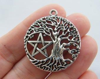 1 Pentagram tree charm antique silver tone HC45