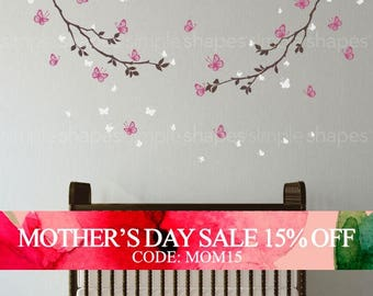 Mothers Day Sale - Butterfly Wall Decal, Butterfly Branches Wall Decal, Crib Wall Decals, Baby Nursery Decals, Nursery Wall Stickers, Gir...