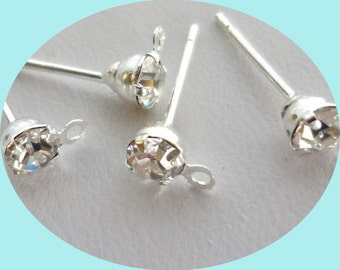 30 pcs Prong Setting -silverplated rhinestone/crystal Earring Posts-studs With Loop - 30pcs Earring Backs