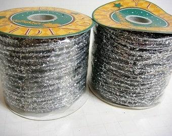 Silver Glitter Ribbon - Plastic Ribbon - Net Ribbon Silver Ribbon 2 Rolls