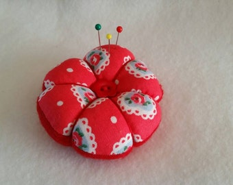 Handmade large Pin Cushion made from Cath Kidston Red Lace Heart fabric