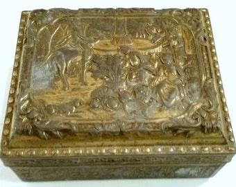 Vintage antique Japan Brass Box Wood Lined Box with Raised Plantation Scene