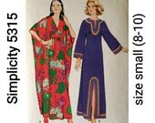70s CAFTAN Pattern, Simplicity 5315, Size Small (8-10) & One Size, UNCUT, Hippie Gown, Two Styles Women's Tunic, Vintage Sewing Pattern