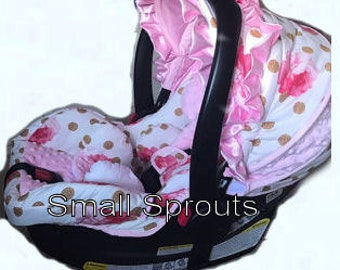 Pink Shabby Chic Roses Glitz Gold Polka Dot/Light Pink Minky Dot infant baby 5 piece car seat cover set