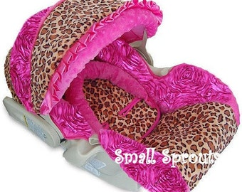 Leopard with Hot Pink 3D Rosette Infant Car Seat Cover 5 piece set