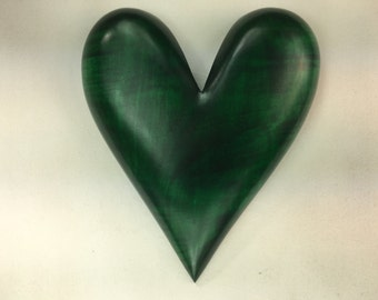 Heart green special wooden Anniversary present carved wood heart gift by Gary Burns