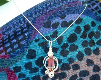 Gorgeous Wire-Wrapped Carnelian Stone, Sterling Silver Wires, 18K White Gold Chain, by SandraDesigns