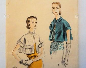 1950s Vogue bolero pattern, vintage sewing pattern,  short swing cape jacket, Vogue 7349 misses size medium bust 32, 34