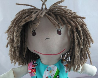 READY TO SHIP Cloth Rag Doll, light skin tone,mop of light brown hair,Removable Clothes,Rag Doll,Fabric Doll, Stuffed Doll,Plush Doll