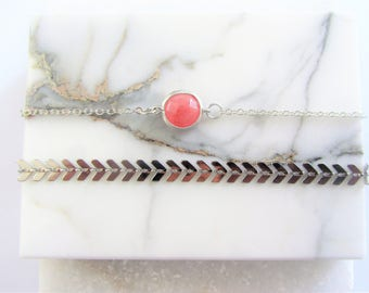Silver Charm Bracelet,Chain Bracelet,Bracelet Set,Bridesmaid Gift Set,Pink Gemstone Bracelet,Silver Bracelet,Fishtail Chain,Gift for her