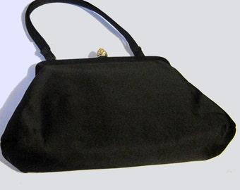 Women's Vintage 40's-50's Black Satin Evening purse. SZ S