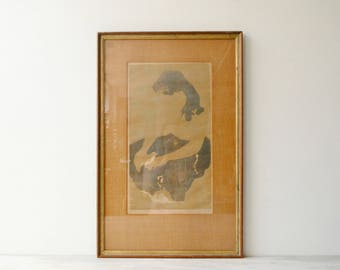 Vintage Bruce Curry Artist Proof Lithograph, Girl and Bird