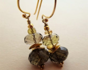 Gemstone earrings gemstone stack earrings brown and gold earrings bi-color lemon quartz earrings lemon quartz stack gold vermeil disc