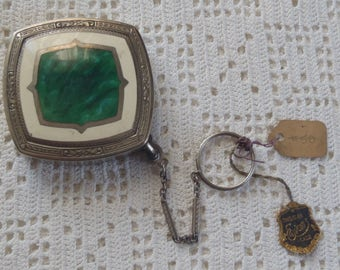 Vintage Evans May Fair Art Deco Dance Purse Compact with Finger Ring and Original Tags