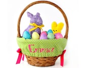 Personalized Easter Basket Liner, Green Dots, Includes Embroidered Name, Custom Basket Liner - You choose font, thread, and ribbons