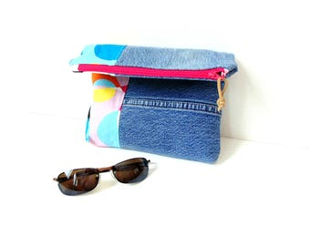 Fold over clutch, denim handbag, recycled blue jeans bag, project bag for sewing crafts, zipper pouch, pink, blue colorful cotton bag