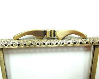 Metal purse frame, antique brass, sewn on top only kiss lock frame, decorative frame for small clutch purse, coin purse