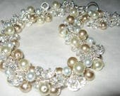 CUSTOM ORDER Pearl Crystal  Necklace, Classic Elegant Hand Knit, Unique Original, Sereba Designs, Etsy