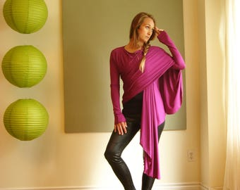 Long Sleeve Cardigan Wrap Sweater Boho Jacket Yoga Top Draped Front Shirt (More Colours) XS/S or M or L/XL