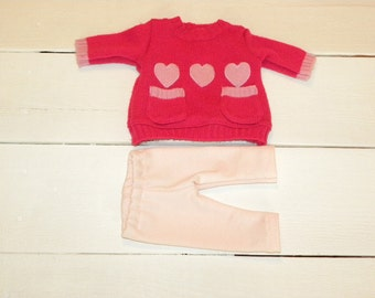 Hot Pink Sweater Knit Dress and Pink Leggings - 14 - 15 inch doll clothes