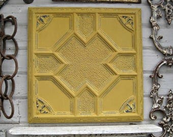 "Antique Tin Ceiling Tile. FRAMED 24"".  Arkansas architectural salvage. Metal wall art. Magnet board. Gold Yellow Tile."