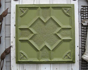 Antique Ceiling Tin Tile. FRAMED 2'x2 tin ceiling wall art.  Architectural salvage. Green decor.