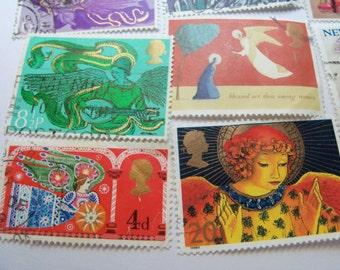 20 Angel  Postage Stamps, Christmas Stamps, Postage Stamps, Vintage Stamps, Used Stamps,