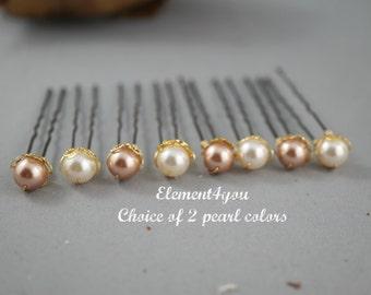 Bridal hair pins, Wedding hair pins, Choice of 2 Swarovski pearl colors, 8mm pearl pin, Set of 8 u shaped pins Bridal party hair do