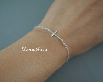 Dainty silver cross bracelet, Sterling silver, Religious bracelet, Simple everyday jewelry, Holiday gift