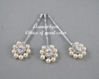 Pearl Cubic Zirconia Bobby Pins Hair Accessories Swarovski Silver Pieces Pink Champagne Ivory Bridesmaid gift Wedding Headpieces Flower girl