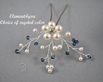 Bridal hair pin, Bridesmaid hair do, Something blue wedding, Hair piece, Headpiece, Ivory pearls, Aqua blue pink black crystals Vines flower