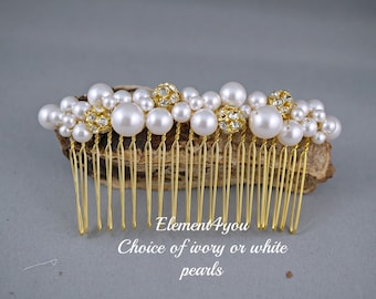 Bridal hair comb, wedding hair accessories, bridal headpieces, gold rhinestone comb bridal ,wedding hair comb, bridal pearl, white ivory