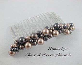 Pearl hair comb, Bridal hair accessories, Metal beaded comb, Champagne Brown Black pearls, Swarovski, Wedding headpiece, Bridesmaid comb