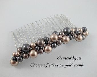 Pearl hair comb, Bridal hair accessories, Metal beaded comb, Champagne Brown Black pearls, Swarovski, Wedding headpiece, Bridesmaid comb