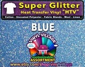 BLUE Super Glitter  HTV Heat transfer thermal press vinyl, T- Shirt film Great for Cheer Bows crafts or sign cutter Pick your size