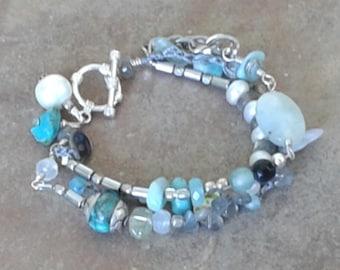 Aquamarine, Pearls Rustic multistrand boho artisan gemstone bracelet, beaded earthy bracelet