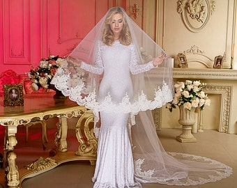 "Drop Cathedral Length 140"" Bridal Wedding Veil Lace Trim Edge Ivory"