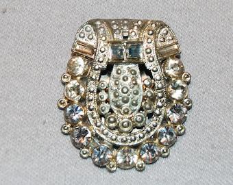 Vintage / Art Deco / Dress Clip / Clear / Bridal / Wedding / Rhinestone / Sparkling / old jewelry