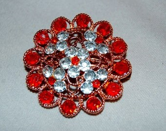 Vintage / Rhinestone / Barrette / Hair Clip / Red / Copper / Clear / old jewelry / jewellery