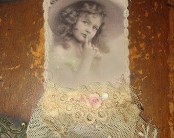 Vintage Lace Collage Sweet Spring Girl Embellished Altered Tag