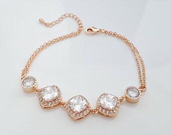 Rose Gold Bridal Bracelet, Wedding Bracelet, Crystal Bridal Bracelet, Wedding Jewelry, Gold Bridal Bracelet, Celia Bracelet
