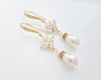 Gold Pearl Drop Wedding Earrings Cubic Zirconia Gold Bridal Earrings Swarovski Pearls Crystal Gold Wedding Jewelry, Bree