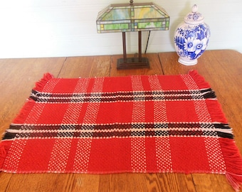 Vintage Woven Table Mat /  Floor Rug  / 36 x 23 / Red Black  White