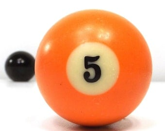 vintage 70s pool ball number 5 five orange resin billiard collectible object decorative home decor altered art game room men modern retro
