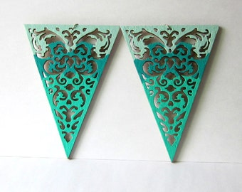 Extra Large Triangle Earrings, Aqua Lace Bunting, Big Teal Statement Earrings, Laser Cut Wood, Hand Painted Banner Earrings