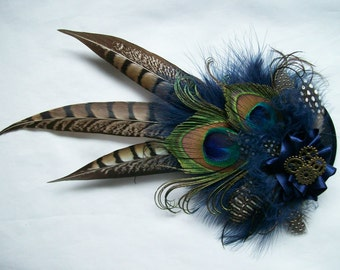 Navy Blue & Mink Nude Brown Rustic Steampunk Pheasant and Peacock Feather and Brass Cogs Wedding Fascinator Percher Hat - Made to Order