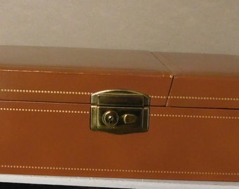 Men's or Women's Jewelry Box Jewelry Case Vinyl Leather Tan with Gold Interior