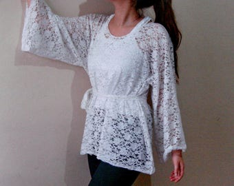 White Lace top, blouse lace bell sleeve. white bell sleeves top 2XL 3XL Size with Tie Belt
