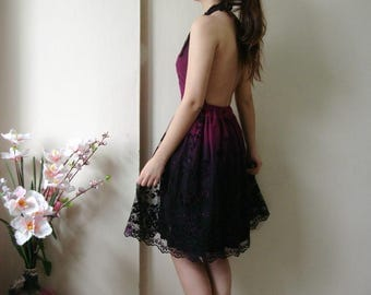 Purple Pary Dress, knee length Backless Dress, Short Lace dress, Backless Halter Dress M Lace Wedding Dress